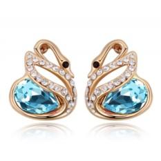 Серьги с голубыми кристаллами Сваровски Лебединая история