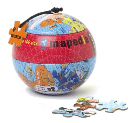 Пазл в металлическом шаре Карта Мира