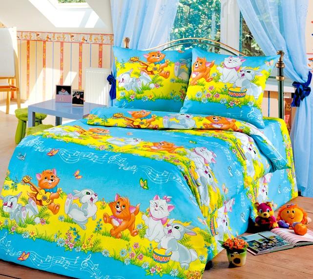 Голубой комплект белья в кроватку из бязи (Cleo)