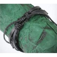 Кожаный браслет Черная плетенка