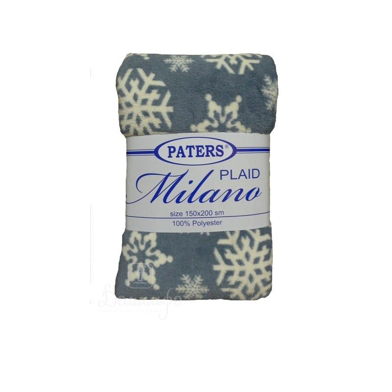 Плед MILANO «Снежинки» голубой 150х200
