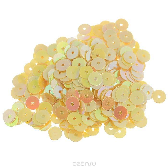 Плоские пайетки Астра, желто-лимонные, 6 мм