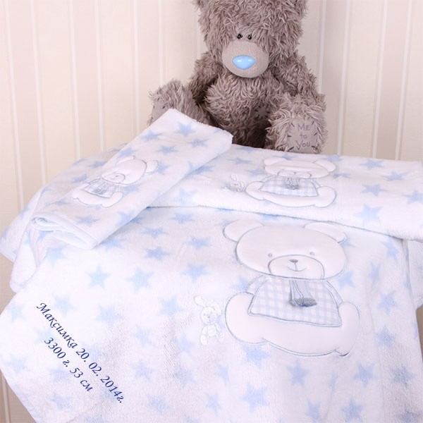 Комплект нежных детских полотенец с именной вышивкой