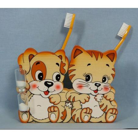 Подставка для двух зубных щёток «Котик и щенок»