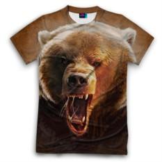 Мужская футболка 3D с полной запечаткой Медведь