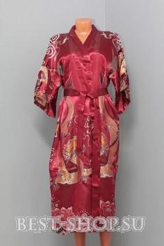 Халат китайский бордовый с вышивкой Дракон