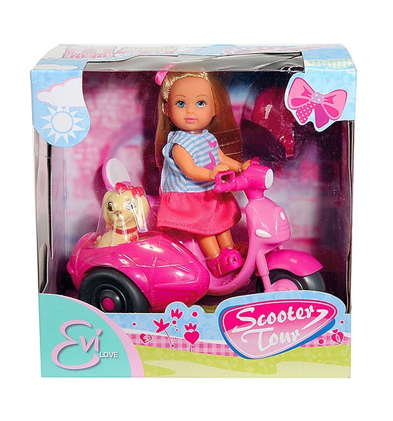Кукла Simba Еви и ее собачка на мотороллере