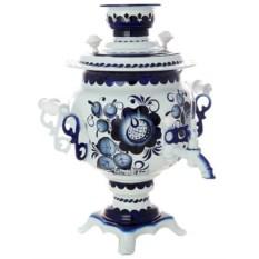 Самовар на 3 литра с росписью Гжельские кружева