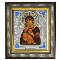 Икона Пресвятая Богородица Владимирская (скань с эмалями)