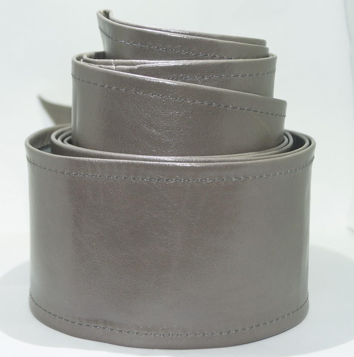 Кожаный пояс-кушак серый, 10 см.