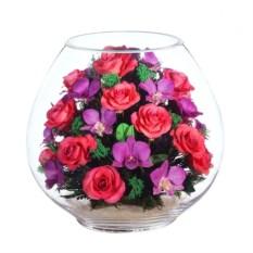 Подарочная композиция из роз и орхидей