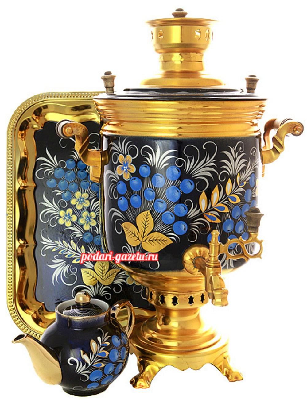 Набор: угольный самовар (жаровый, дровяной) на 7 литров цилиндр с художественной росписью Рябина зимняя