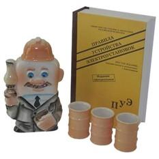 Штоф Энергетик со стопками в футляре-книге