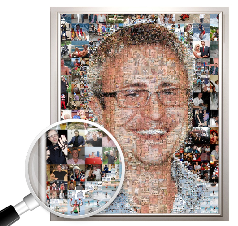 Фотомозаика из ваших фото в подарок мужчине, 100х150 см