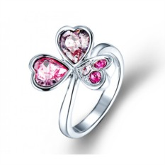 Кольцо с розовыми кристаллами Сваровски «Аленький цветочек»