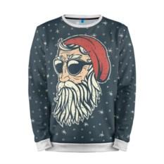 Мужской свитшот 3D Санта хипстер с белой отделкой
