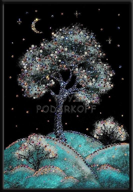 Картина из кристаллов Зимняя вишня