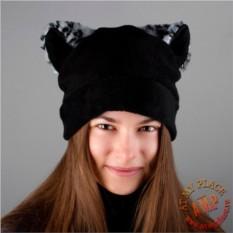 Черная шапка с леопардовыми ушками
