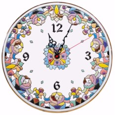 Сиреневые настенные часы из керамики