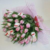 Букет из живых цветов Тюльпаны