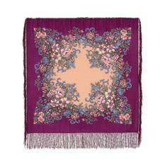 Шерстяной платок с шелковой бахромой Вечерний сад