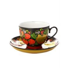 Чайная пара с художественной росписью Хохлома кассическая