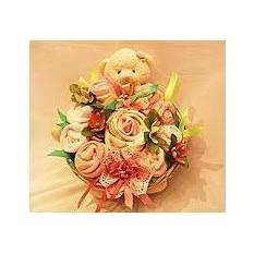 Бейби-букет «Зайка» бело-розовый для девочки