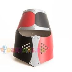 Детский рыцарский шлем с забралом (цвет: черно-красный)