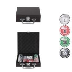 Покерный набор в кожаном кейсе на 100 фишек