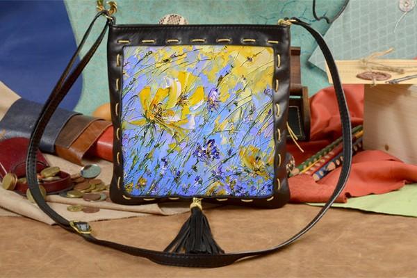 Женская сумка-планшет с принтом Желтое на синем