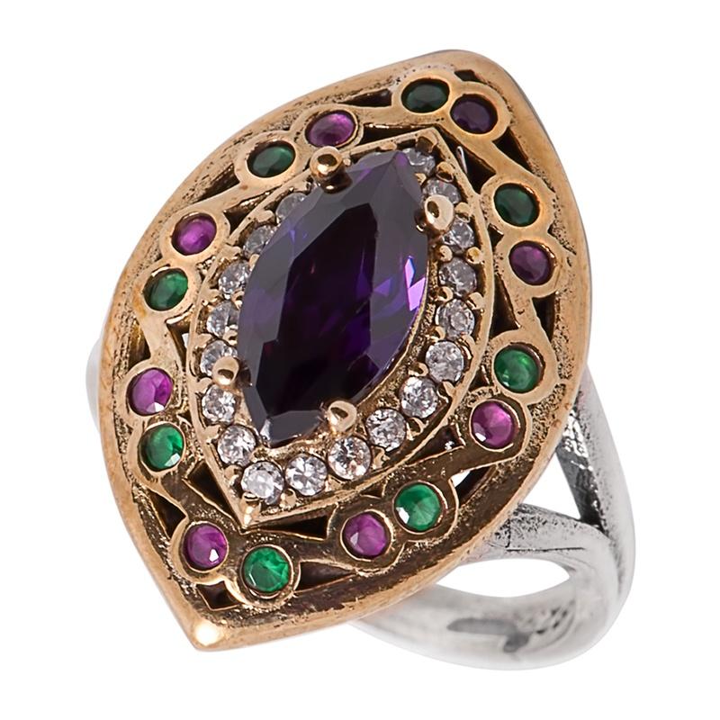 Перстень с цирконами, аметистом, рубинами и изумрудами