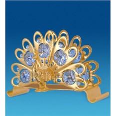 Салфетница с позолотой и кристаллами Swarovski Павлин