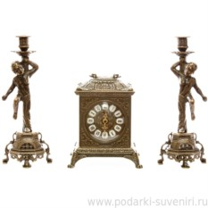 Часы и 2 подсвечника на 1 свечу Ларец