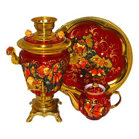 Набор «Золотые цветы на бордовом фоне»