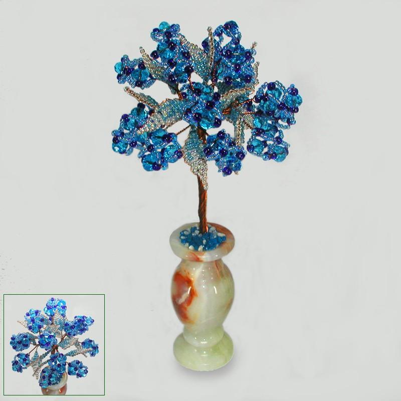 Дерево удачи из топаза в вазочке из оникса