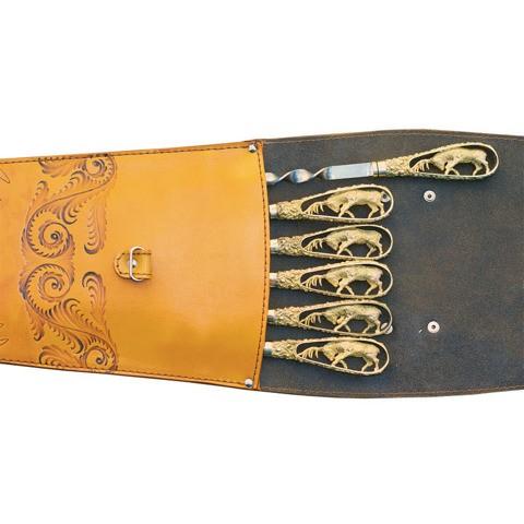 Шампуры подарочные в колчане из кожи (олень)