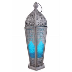 Подсвечник Фонарь со стеклом голубого цвета