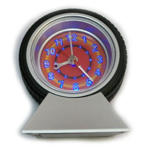 Часы настольные Колесо с будильником и подсветкой.