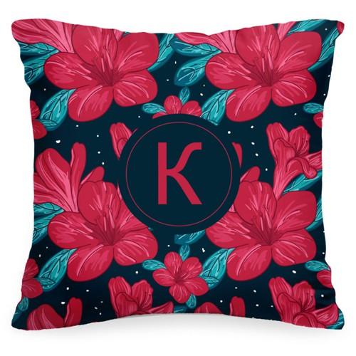 Подушка с вашей буквой «Малиновые цветы»
