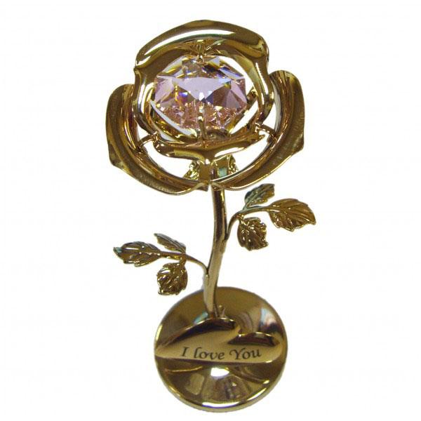 Золотая розочка с розовым цветком