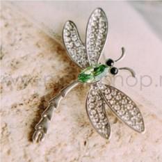 Брошь «Стрекоза» с зеленым кристаллом Swarovski