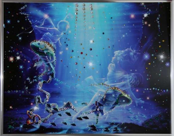 Картина с кристаллами Swarovski Рыбы Кагая