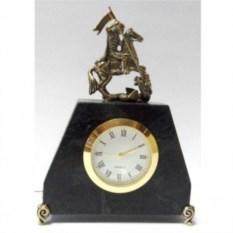 Часы настольные из змеевика и бронзы Георгий Победоносец