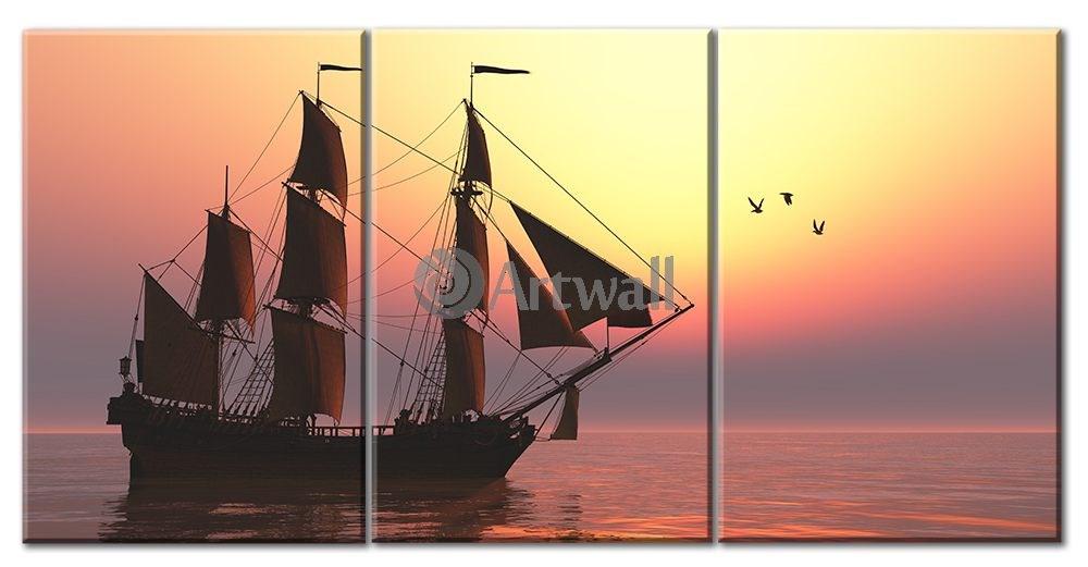 Модульная картина «Парусник» 75×39 см