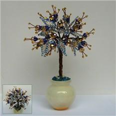 Дерево радости из цитрина в вазочке из оникса