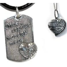 Комплект серебряных подвесок Жетон и сердце