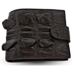 Черный мужской кошелек из кожи крокодила с монетницей