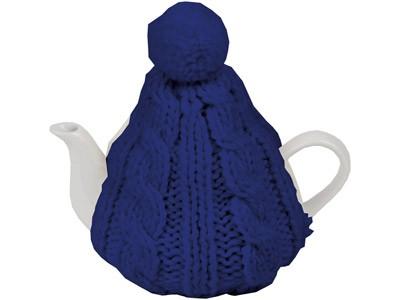 Чайник на 750 мл в теплой вязаной шапочке, синий