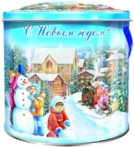 Сладкий новогодний подарок Дети и снеговик