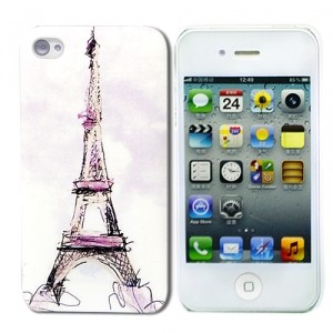 Чехол для iPhone 4/4S Eiffel Tower Sketch